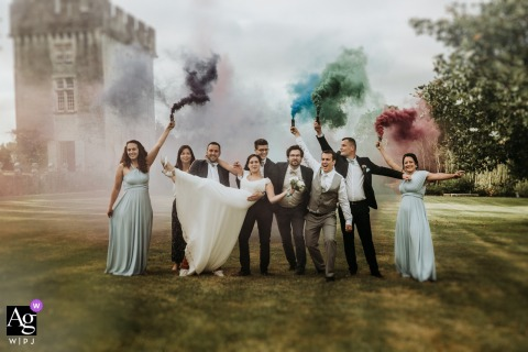 Château de Crazanne, France fine art wedding group photo with smoke