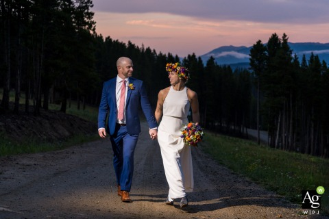 Colorado wedding couple posed portrait session during sunset at the ski resort