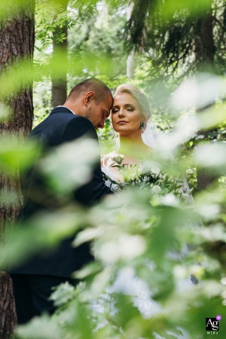 Banska Bystrica, Slovakia fine art wedding portrait of the Bride and Groom standing in the forest trees
