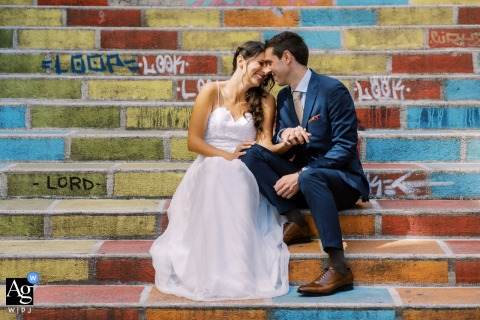 Lyon fine art wedding couple portrait of the Bride and groom and colorful stairs