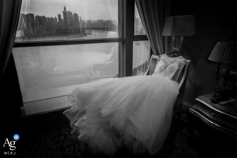 ChongQing, China creative, fine art wedding photo of The wedding dress and the scenery with contrast