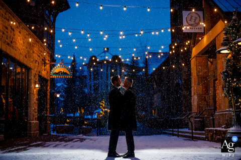 Colorado, United States fine art wedding couple portrait of them Taking in the winter snow before heading into dinner