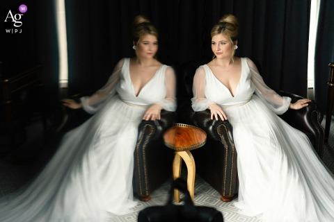 The Liberty Hotel, Boston, MA sessão criativa de retratos nupciais de casamento com o reflexo adicionado usando a TV e certo na parte de trás para remover a luz