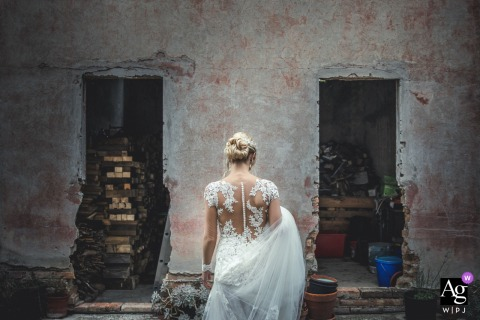 Ancona creative bridal portrait from behind showing the details of the Brides dress