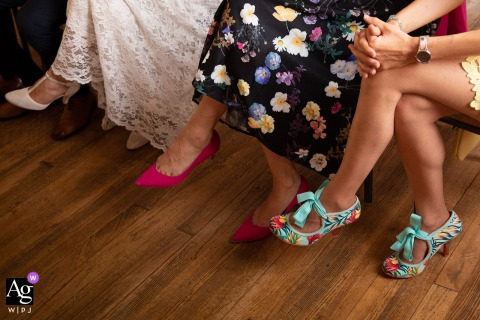 Vosges, Grand Est fine art wedding picture of the Crossing bridesmaids legs
