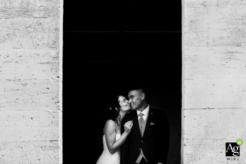 Nancy bride and groom wedding portrait session in black and white