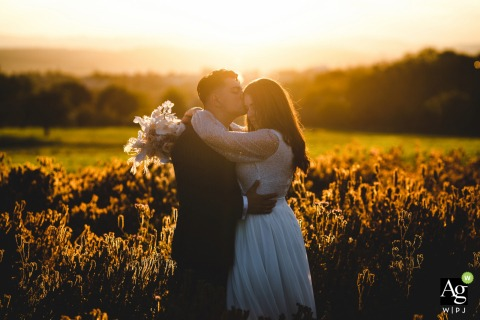 Zurich couple posing for wedding images at sunset in the countryside