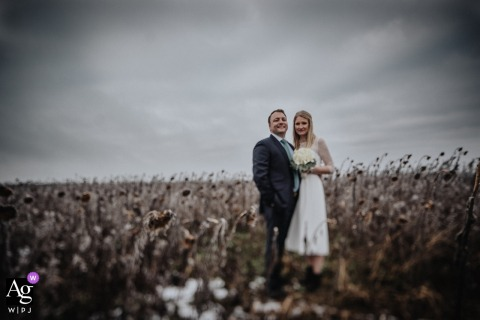 Aalen creative wedding day portrait of the bride and groom in a field of Sunflowers