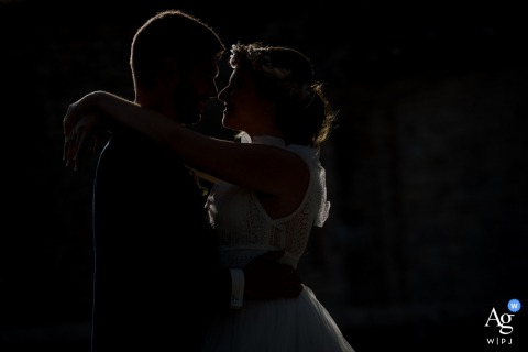 Montpellier, France fine art wedding portrait in a dark-toned Silhouette