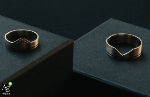 Creative wedding detail image from Slovenia of these special wedding rings that were made from the bride's grandfather and grandmother rings