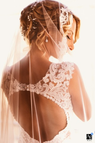 Orvieto, Terni fine art wedding detail pic of the bride and the back of her dress and veil at her home