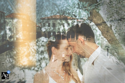Koper, Slovenia artistic wedding photo of a Double exposure in summer wedding