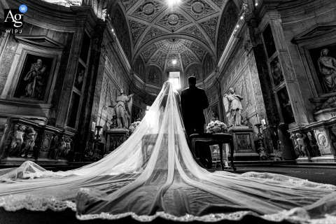 San Pietro, Montorio Church, Rome, Italy fine art wedding detail pic of the veil during the ceremony