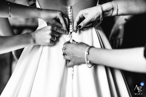 Borgo san Faustino, Orvieto creative wedding photo the details of the brides dress