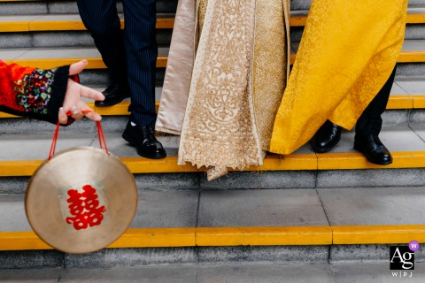 Guangzhou, Guangdong creative, fine art wedding photo of shoes and steps with yellow tones