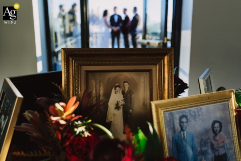 The Line, Washington DC fine art wedding detail pic using photos of the couple's ancestors during the ceremony