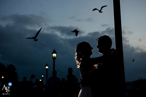 Ocean Key, Mallory Square creative wedding day portrait with Birds over creative couple