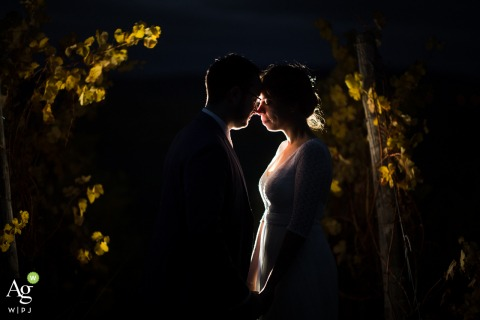 "Bas-Rhin bride and groom wedding portrait session by Stasbourg wedding photographer ""In a vineyard close to the Reception Venue, I propose the couple to realize night shot. I put some backlight to have the silhouette of the couple and some details"""