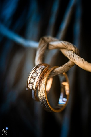 Statek Svaté Pole fine art wedding couple bands detail image of the Rings tied together
