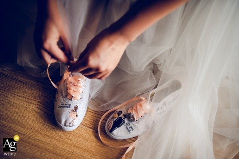 Sofia, Bulgaria fine art wedding bridal shoes image from a high angle looking down