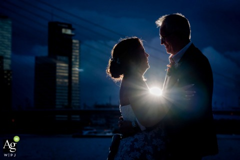 Netherlands bride and groom wedding portrait session in the blue hour
