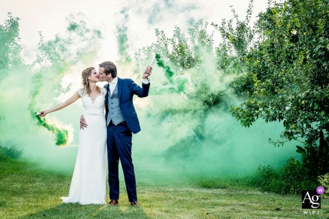 Gelderland, Netherlands creative couple wedding portrait special effects like green smoke