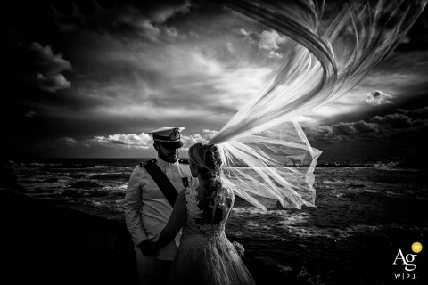 Sestri Levante Baia del Silenzio creative wind wipped wedding portrait