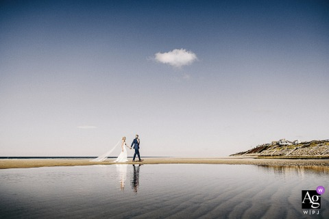 Brewster MA creative beach reflection walking wedding portrait