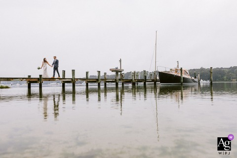 Martha's Vineyard, MA dock walking wedding portrait with the b&g
