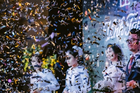 Ho Chi Minh City creative confetti wedding image from the indoor ceremony
