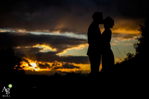 Villa Bria, Torino, Italy wedding couple posed portrait session silhouetted at sunset