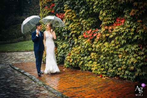 PL wedding photo from Goluchow Castle, Poland during A short photo session on a rainy wedding day