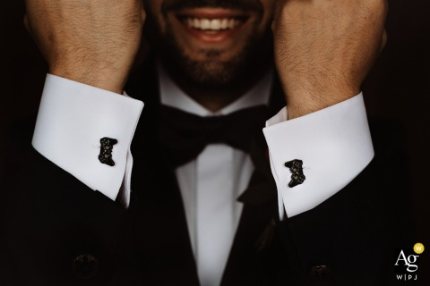 Apulia detail wedding photo from the house of the groom showing the twin xbox controller cuff links of the groom
