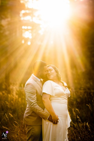 Lookout Mountain - Golden, CO artistic wedding photo of the bride and groom in sunlight