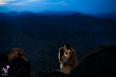 Blue hour CO wedding photo from Lookout Mountain - Golden as the couple posed for portraits after getting married at the courthouse
