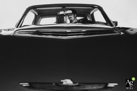 Yonah Mountain Vineyards, Cleveland, Georgia bride and groom wedding portrait session in classic car