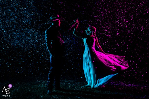 The Allen Farmhaus wedding couple artistic image session of a night time portrait