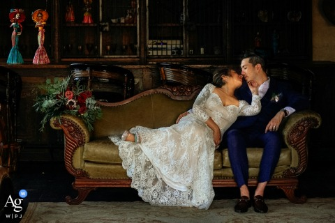 Hacienda Antigua, Lo de Marcos, Mexico wedding couple artistic image session of the couple lying on a couch