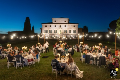 Certosa di Pontignano, Siena, Villa Geggiano, Siena wedding venue outdoor reception, photography showing the wedding dinner tables on the lawn