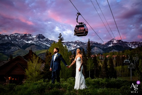 Colorado wedding couple artistic image session at sunset in Telluride