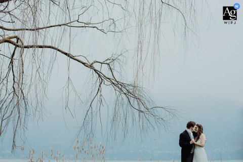 Aix-les-Bains wedding couple artistic image session of the couple surrounded by branches and fog