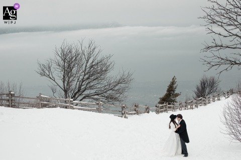 Aix-les-Bains wedding couple artistic image session of the couple standing the snowy field