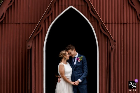 Chiltern Open Air Museum wedding couple artistic image session outside a small chapel