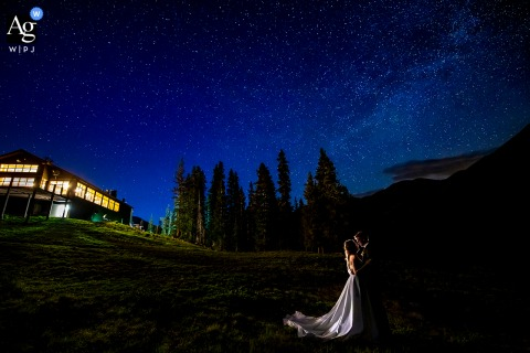 Arapahoe Basin Ski Area, Dillon, CO wedding couple artistic image session of the bride and groom under the stars