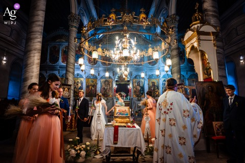 St. Peter and Paul, Sopot, Bulgaria wedding indoor ceremony photography showing Concentric circles inside the church