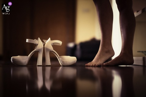Pistoia, Tuscany artful style wedding detail picture of the brides feet and shoes