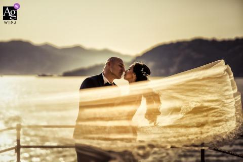 Lerici La Spezia Villa Marigola wedding couple artistic image session behind the veil of love