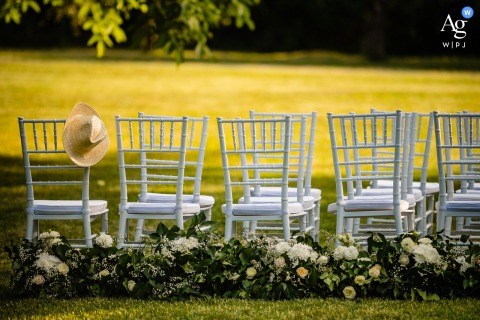 Cherry Orchard Residence, Sofia artful style wedding detail picture showing off a hat and some chairs