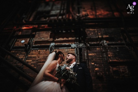 Kraftwerk Rottweil wedding couple artistic image session showing some gritty, Urban Love