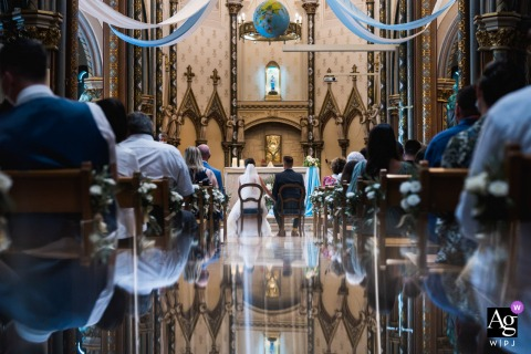Agen, France wedding church ceremony photography with a creative reflection